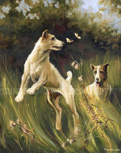 Pavel Kapusto : Terriers and Butterflies oil on canvas , 20x16 ins.