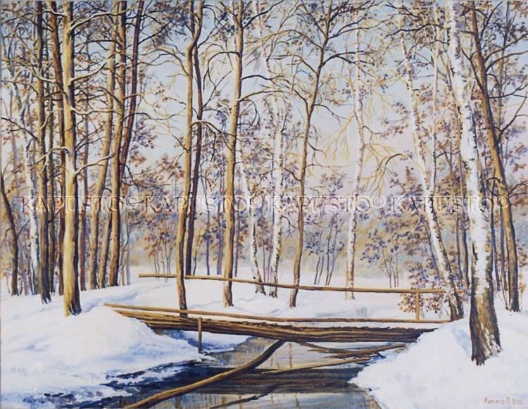 Pavel Kapusto : The winter Stream oil on canvas , 24x32 ins.