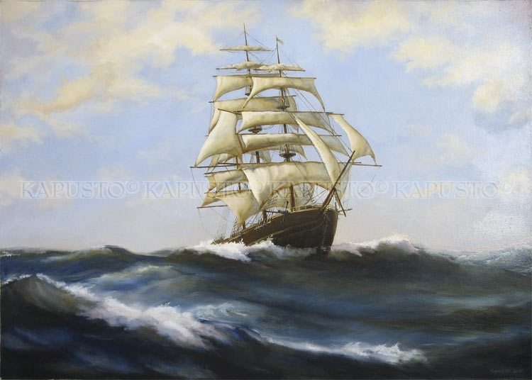 Pavel Kapusto : The Gallant Clipper oil on canvas , 20x28 ins.