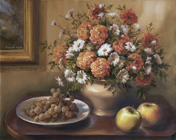 Pavel Kapusto : Still Life with Apples oil on canvas , 16x20 ins.