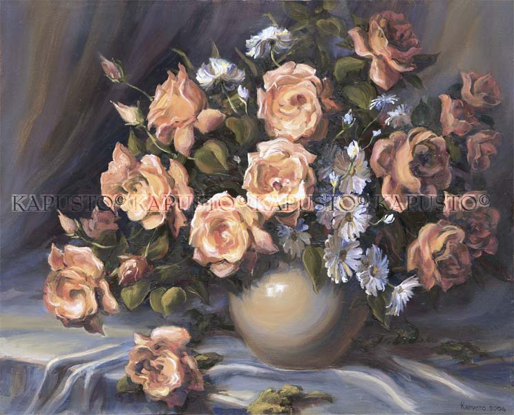 Pavel Kapusto : Bouquet Of Roses oil on canvas , 16x20 ins.