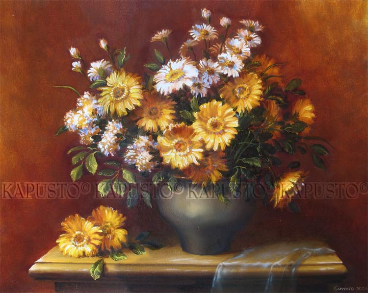 Pavel Kapusto : Gerberas oil on canvas , 16x20 ins.