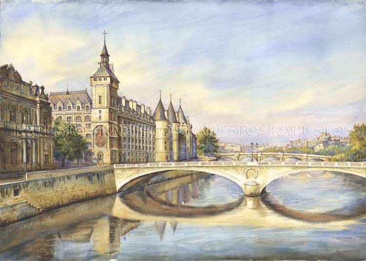 Pavel Kapusto : La Conciergerie watercolor , 20x28ins.