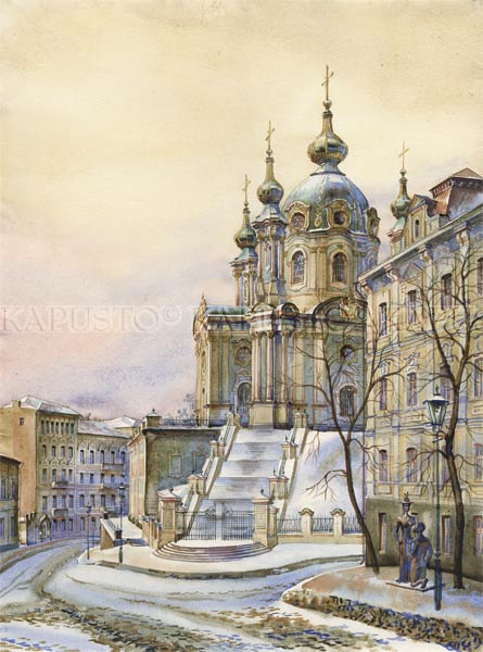 Pavel Kapusto : Church and Monument of Pronja watercolor , 16x12 ins.