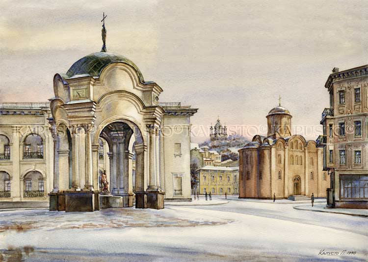 Pavel Kapusto : The Felicial Fountain-Pavilion watercolor , 14x20 ins.