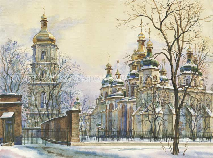 Pavel Kapusto : St. Sopia Cathedral watercolor , 12x16 ins.