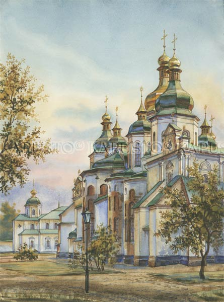Pavel Kapusto : St. Sopia's watercolor , 16x12 ins.