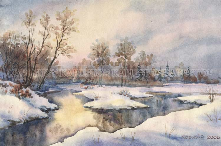 Pavel Kapusto : Winter River watercolor , 8x12 ins.