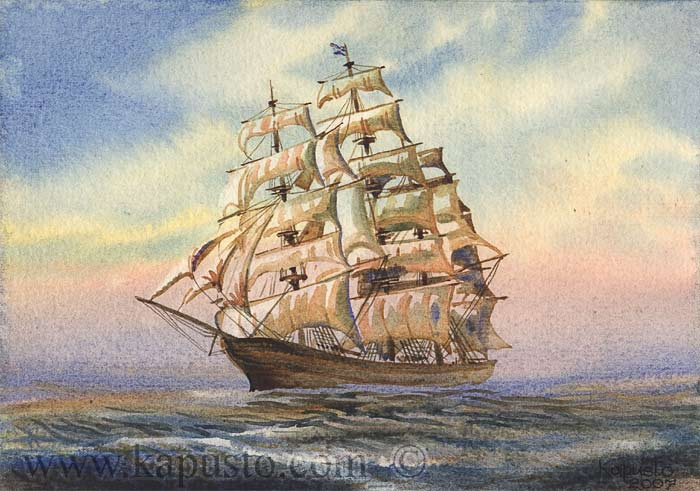 Pavel Kapusto : CUTTY SARK watercolor ,8x6ins.