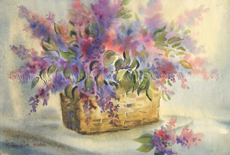 Pavel Kapusto : Basket of Lilacs watercolor , 8x12 ins.