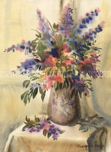 Pavel Kapusto : Still Life with Flowers watercolor , 12x8 ins.