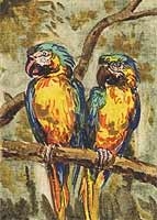 ACEO : Blue-and-yellow Macaw watercolor , 2,5x3,5 ins.