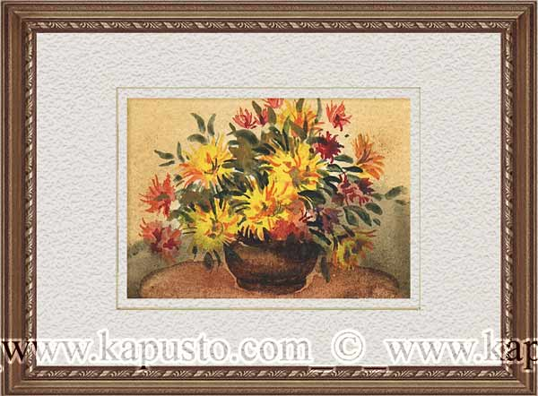 Pavel Kapusto : ACEO : Asters 2 watercolor , 2,5x3,5 ins.