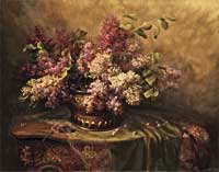 A Still Life with Lilacs and Violets on a Draped Rococo Table