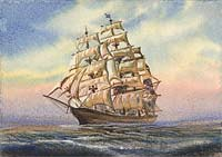 CUTTY SARK watercolor , 8x6 ins.